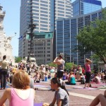 Celebrating The Solstice On Monument Circle