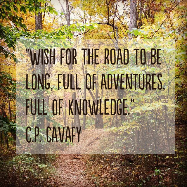 """Wish for the road to be long, full of adventures, full of knowledge."" ― C.P. Cavafy #travel #quote"